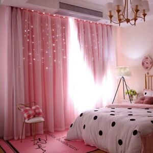Details about 2pc. Princess Pink Bedroom Living Room Blackout Curtains w/  Voile