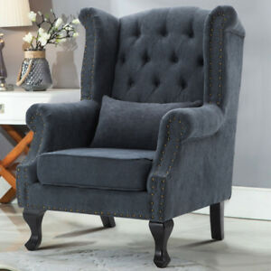 Marvelous Details About Studs Linen Wing Back Lounge Occasional Accent Chair Fabric Tub Armchair Sofa Uk Pdpeps Interior Chair Design Pdpepsorg
