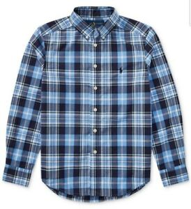 Blue Multi RALPH LAUREN Boys Plaid Cotton Shirt