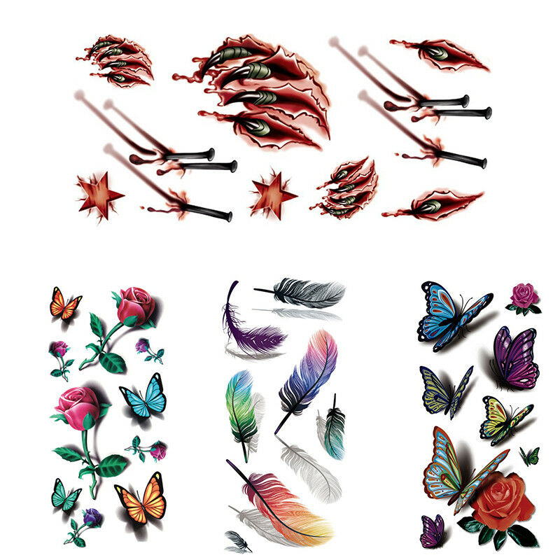 Sexy Body Art Tattoos Sticker Waterproof Temporary 3d Tattoos Feather Rose Ebay
