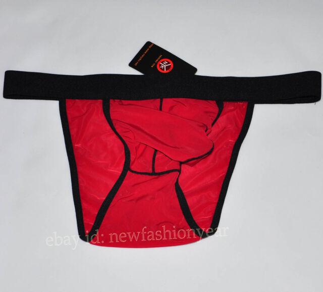 Hot Men's Comfortable Open Side Underwear Belt Brief Shorts Silky Pouch Briefs