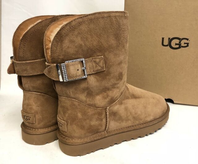 5505971a809 UGG Australia Remora Buckle BOOTS Crystal Chestnut Brown Sheepskin US Size 5