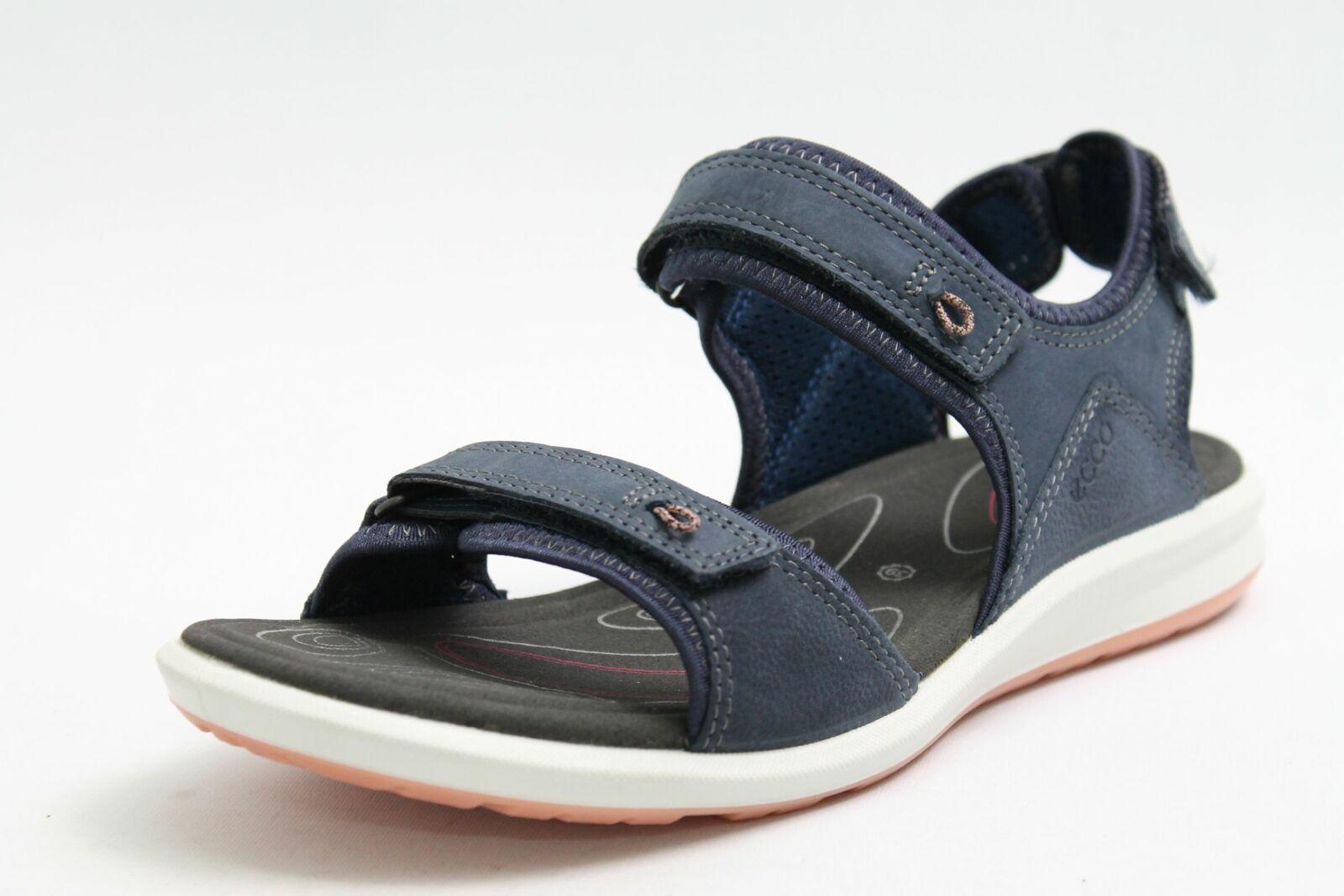 Ecco sandalias de cuero azul velcro confort plantilla señora