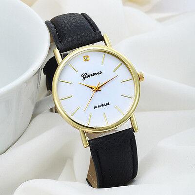 Women Fashion Dial Leather Band Analog Geneva Quartz Women Casual Wrist Watch
