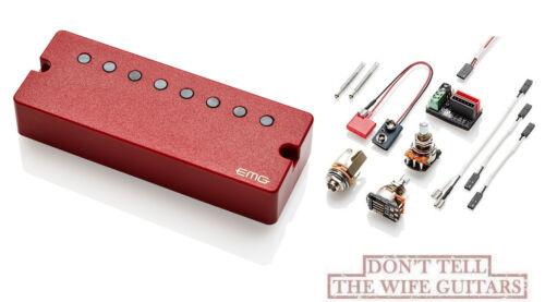 EMG 66-8 SOAPBAR 8 STRING RED ACTIVE SOLDERLESS GUITAR PICKUP w// WIRING /& POTS