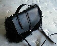 NWT Pour La Victoire Blk Leather Mongolian Lamb Fur Messenger Briefcase Tote Bag