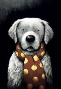 Doug-Hyde-MAN-039-S-BEST-FRIEND-MOUNTED-Golden-Retriever-Art-Goldie-Gun-Dog-Lab