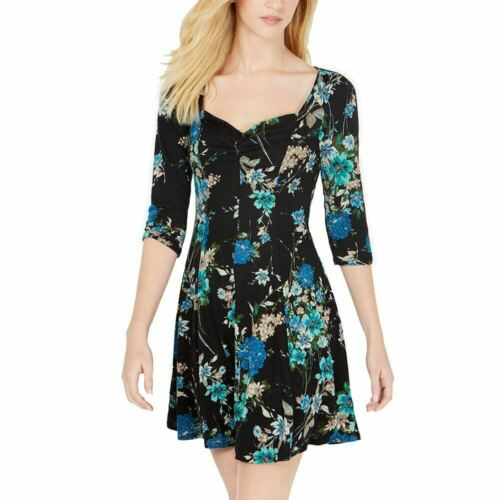 Black//Peacock Be Bop Juniors/' Floral Sweetheart A-Line Dress