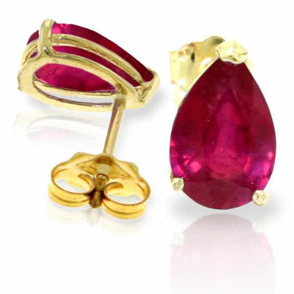 Genuine Red Ruby Pear Cut Gemstones Studs 14K. Yellow, White, pink gold Earrings