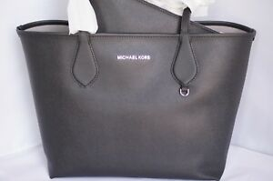 d2bcdce6647b72 New Michael Kors Saige md Reversible Tote Bag Black Shoulder Handbag ...