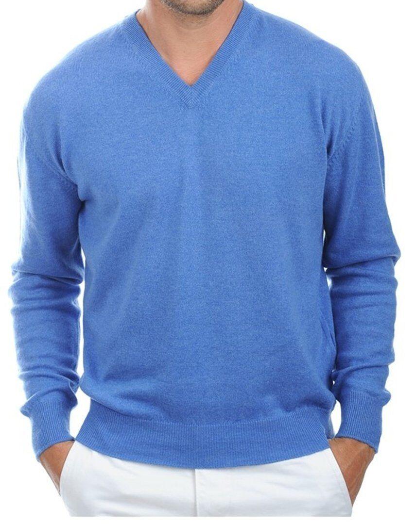 Balldiri 100% Cashmere Uomo Pullover Collo A V BLU MELANGE XL