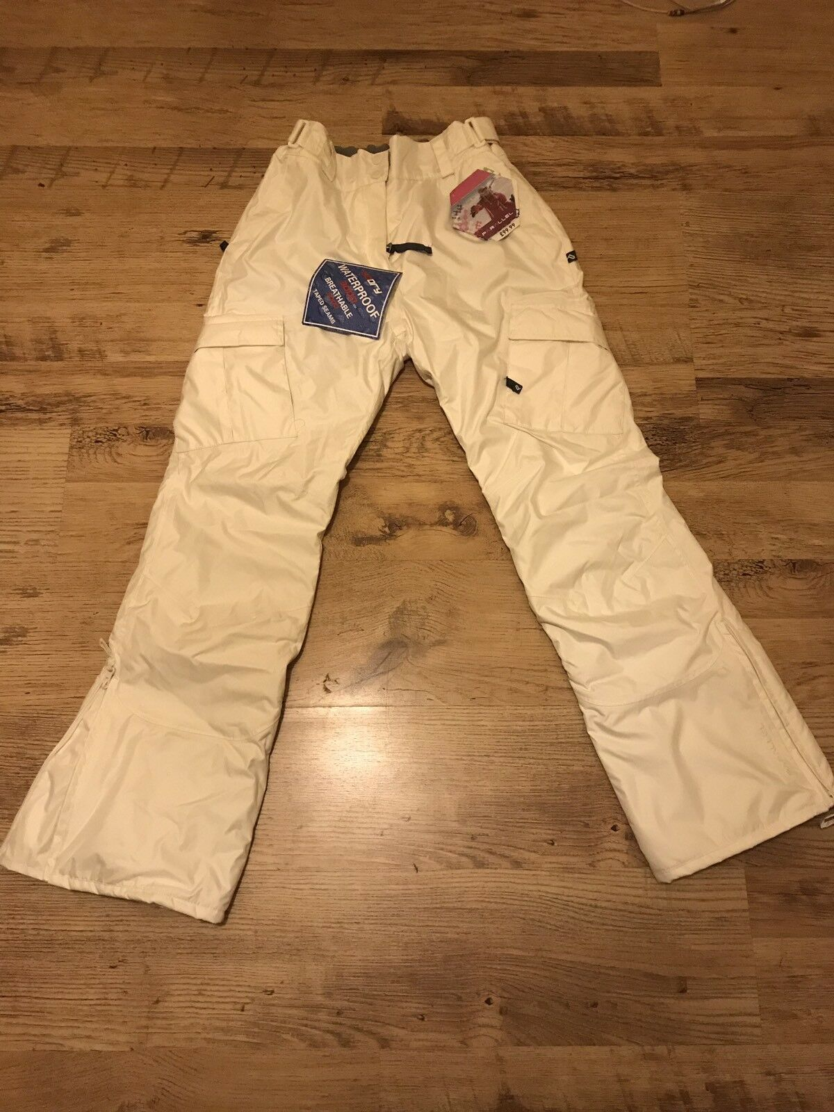 Ski trousers women's white waterproof fleece-lined size  SMALL  sale with high discount