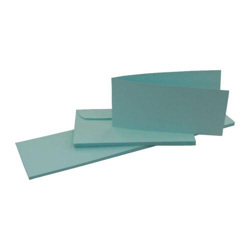 Kuvert 25 Klappkarten Blankokarten Faltkarten Set DIN lang Querformat hellblau
