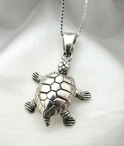 Details About Solid 925 Sterling Silver Turtle Necklace Box Chain Gift Box