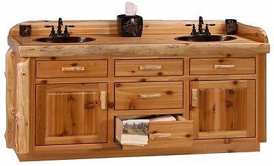 Custom Rustic Cedar Wood Log Cabin Lodge Bathroom Vanity Cabinet 48 - 72 INCH
