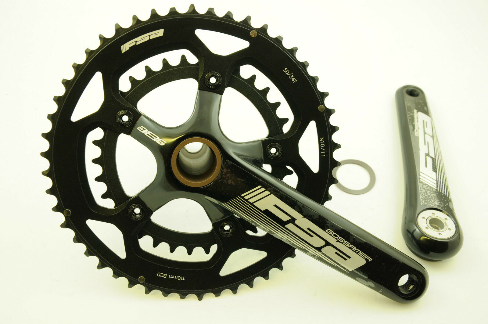 FSA GOSSAMER BB386 EVO COMPACT DOUBLE CHAINWHEEL CHAINSET 50 34 172.5mm 50% OFF