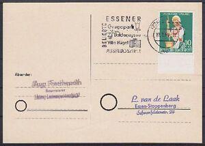 Bund-Mi-Nr-298-EF-auf-Postkarte-gel-in-Essen-mit-WS-Ausflugsziele-1960