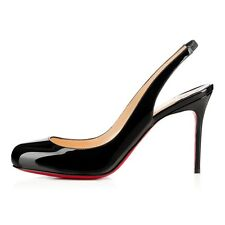 Christian LOUBOUTIN FIFI Black Patent Slingback 85mm Heels Shoes Pumps 41 9.5 10