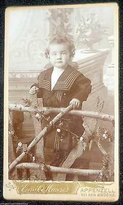 CDV Photograph Cute Toddler Fancy Outfit Wood Fence - Emil Manser Photography
