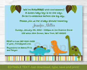 Image Is Loading Dinosaur Friends Blue Printable Baby Shower Invitation  Editable