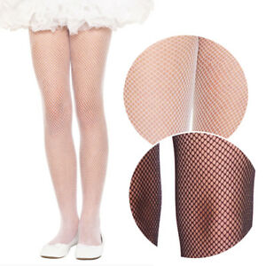 Girls-Sizes-1-15-Kids-Childrens-Costume-Fishnet-Tights-Opaque-Pantyhose-3-Colors