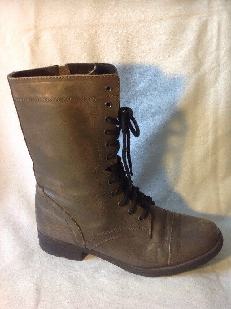 Office London Brown Mid Calf Leather Boots Size 39