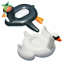 Swimline Pool Happy Penguin Float + Giant Inflatable Ride-on 75-inch Swan Float on sale