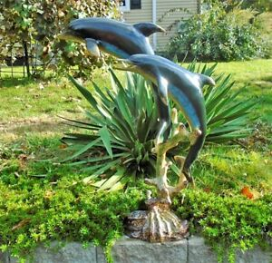 Dolphins-Swimming-Statue-Aluminum-Hand-Painted