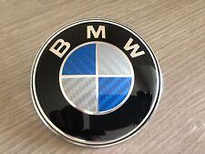 BMW Bonnet Badge 1 3 5 7 Z3 Z4 X3 X5 Series Blue Carbon Fibre Logo Emblem 82mm