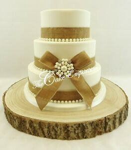Details About Vintage Wedding Cake Bridal Pearl Brooch Hessian Ribbon Pearls Cake Topper