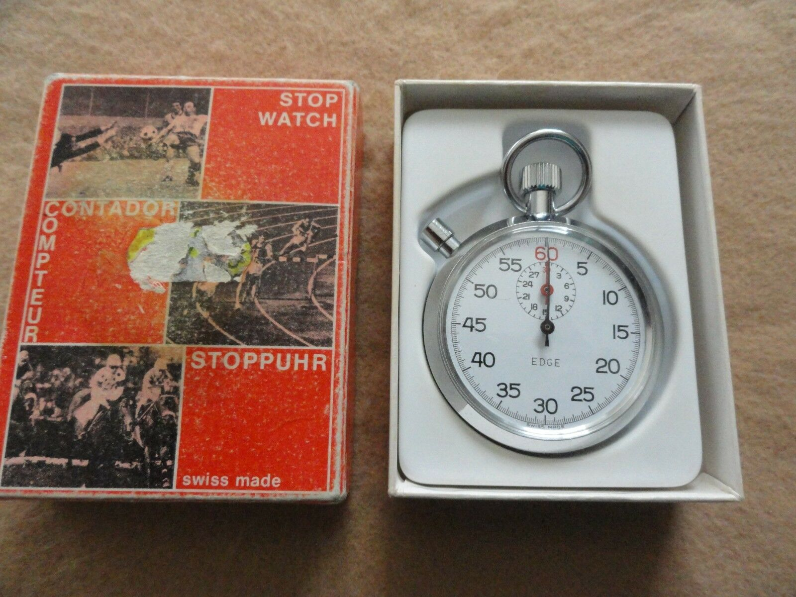 Swiss Made EDGE Vintage Mechanical Mechanical Mechanical Wind Up Stopwatch with the Box e2e808