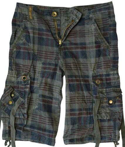 Herren Cargo Bermuda Shorts Vintage kurze Hose Kariert in verschiedenen Farben