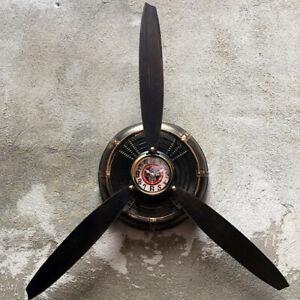 Industrial-Air-Plane-Propeller-Metal-Wall-Clock-Aeroplane-Retro-Ornament-Decor