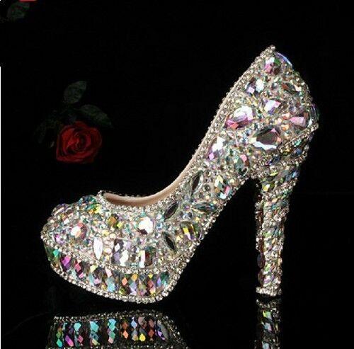 Frauen Glitter Kristall Plattform High Heels Hochzeit Bbendgesellschaft Schuhe