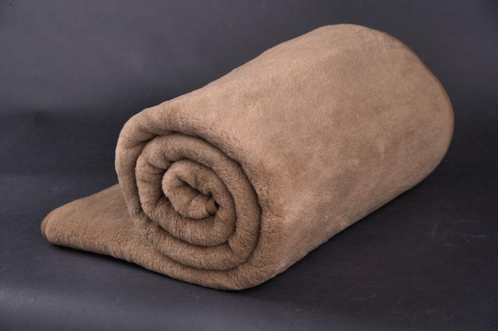 100% Merino Wool Camel Blanket DOUBLE BLANKET 160 x 200 cm PERFECT FOR GIFT