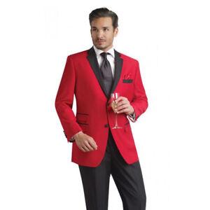 02d24e194d1 HOT Red Jacket Black Lapel Men s Wedding Suits Prom Groomsman Tuxedo ...
