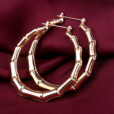 Fashion Jewelry Gold Tone Bamboo Punk Big Hoop Large Circle Earrings Hiphop Gift