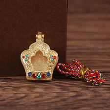 TIBET BUDDHIST BLESSED GOLD GILT LOCKET LOTUS PEDAL SHAPE PENDANT GAU PRAYER BOX
