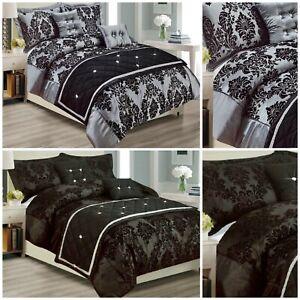 Grey-Black-Luxury-Damask-Printed-Duvet-Quilt-Cover-Bedding-Set-Super-King-Double