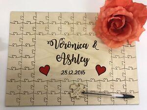 Personnalisé En Bois Coloré Coeurs Mariage Livre D'or Jigsaw Puzzle Anniversaire-afficher Le Titre D'origine