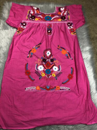 Womens Mexican Embroidered Pink Multicolored Flora