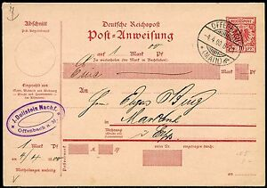 GERMANY-REICHPOST-10-pfg-POST-ANWEISUNG-POSTCARD-CANCELLED-OFFENBACH-4-4-00