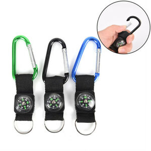 2-in-1-Camping-Climbing-Hiking-Carabiner-With-Keychain-Compass-Hanger-Key-Rin-CH