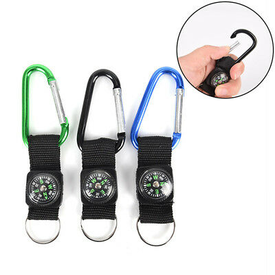 2 in 1 Camping Climbing Hiking Carabiner With Keychain Compass Hanger Key RingLF