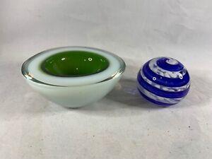 Elwood-Glass-Paperweight-Blue-Swirl-Green-Bowl-Hand-Blown-a397