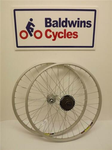 "26/"" PAIR DISC BRAKE SILVER Bike Wheels Quick Release 7 Speed Shimano Freewheel"