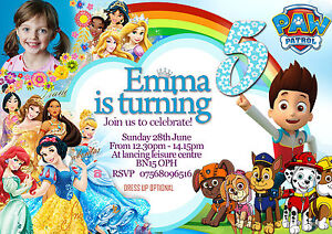 Image Is Loading Personalised Birthday Party Invitations Disney Princess Paw Patrol