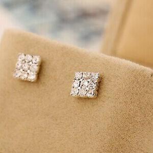 Mens-Womens-Crystal-Rhinestone-Diamante-Square-Magnetic-Clip-On-Earrings-S-UKGRL