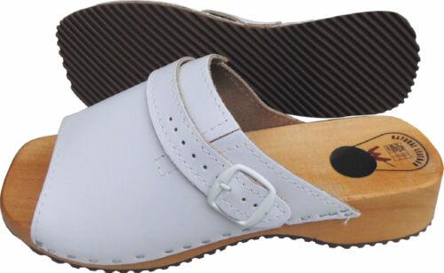 CLOGS // Holz Pantolette Gr.41 LEDER+WEISS e Made in Poland 05.02 HOLZ