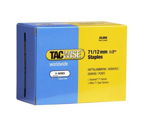 recouvert de fournitures Tacwise 12 mm//71 type Agrafes Agrafes boîte de 20,000